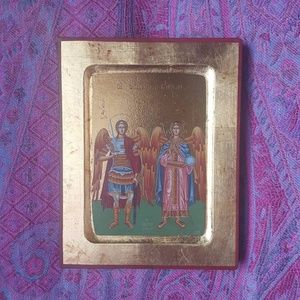 Greek Orthodox Christian Religious Michael Angels Icon Gold Leaf Art Painting